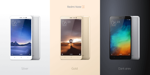 Xiaomi Redmi Note 3 Golden, Silver and dark grey
